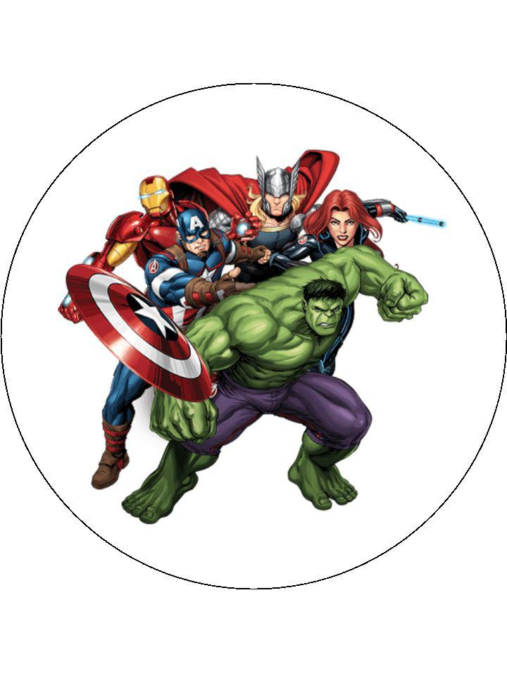 "Large 7"" cake topper, rice paper or icing with Marvel Avengers"