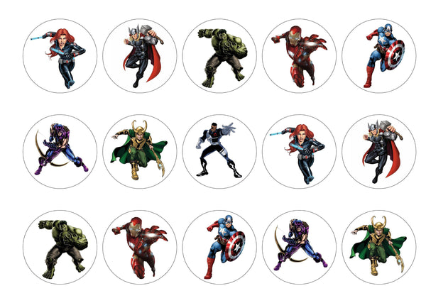15 edible cupcake toppers, rice paper or icing with Marvel Avengers