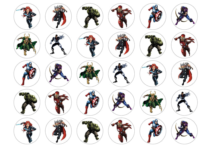 30 printed cupcake toppers, rice paper or icing with Marvel Avengers
