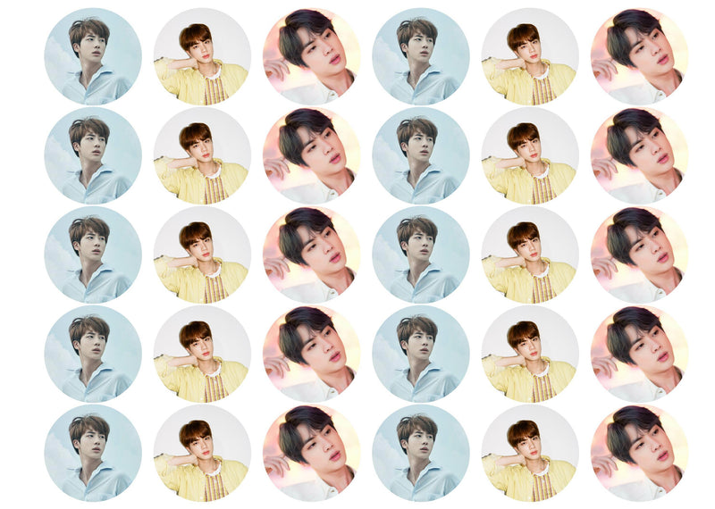 30 edible cupcake toppers with images of Jin from BTS