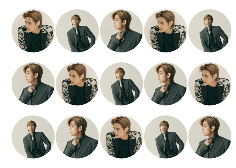 15 printed cupcake toppers with Kim Tae-hyung from BTS and his