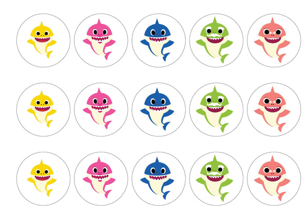 15 baby shark cupcake toppers