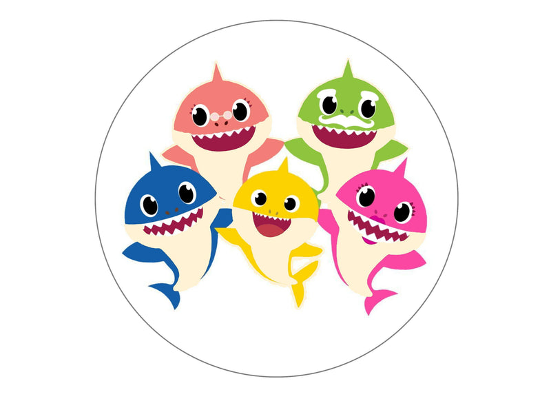 large cake topper printed with baby shark characters
