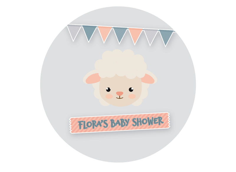 Cute baby shower cake topper with a little lamb image