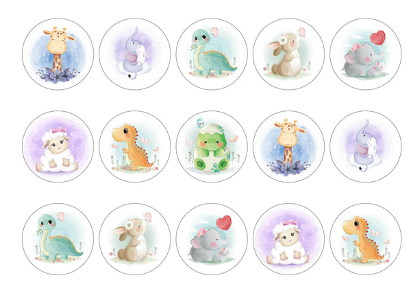 15 cupcake toppers with various baby animal images