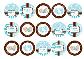 Printed edible cupcake toppers and cake toppers with baby boy images