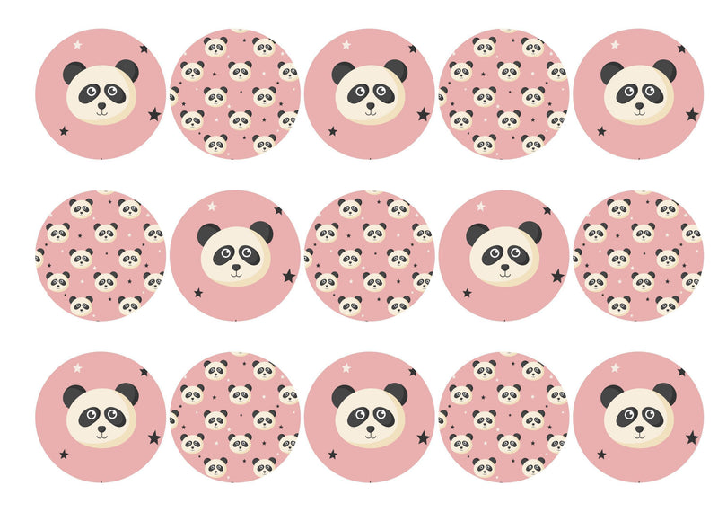 15 printed toppers with a cute baby panda image