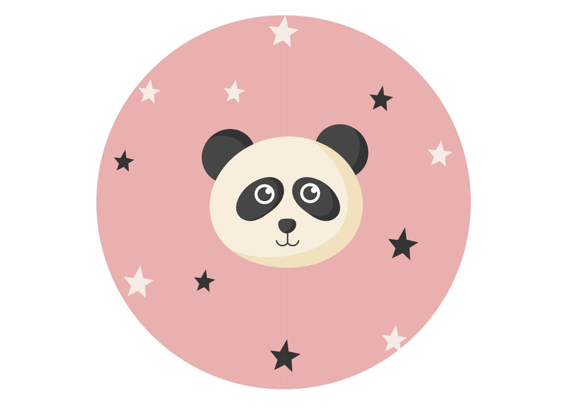 large round cake topper with a cute baby panda image