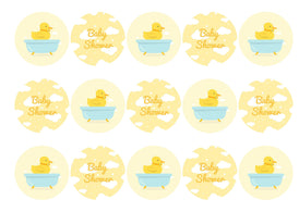 Edible cupcake toppers for a baby shower with a cute yellow chick image