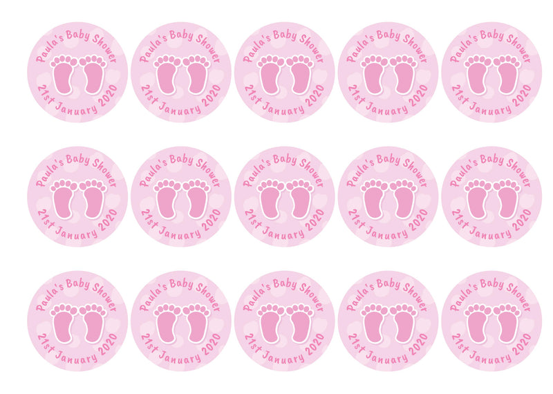 Baby Shower Feet Pink-Edible cake toppers-Edibilis