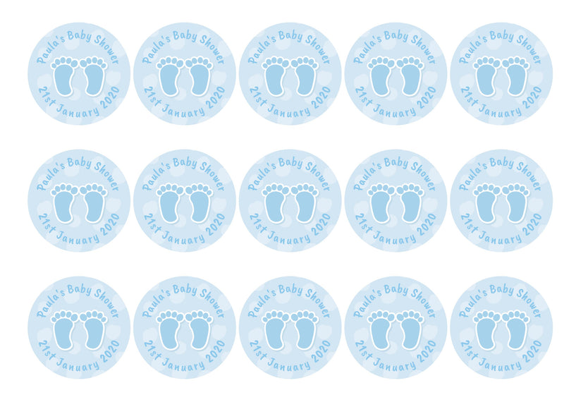 Baby Shower Feet Blue-Edible cake toppers-Edibilis