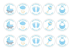 15 baby shower toppers with blue baby icons