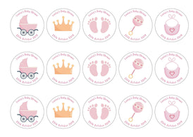 15 baby shower toppers with pink baby icons