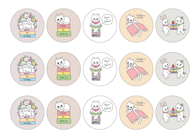 15 printed cupcake toppers with back to school cat illustrations