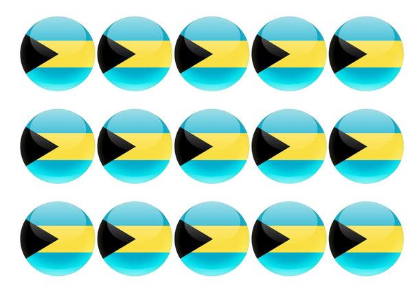 50mm printed edible cupcake toppers - Bahamas