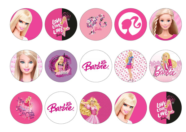 Printed edible cupcake toppers and cake toppers with Barbie images
