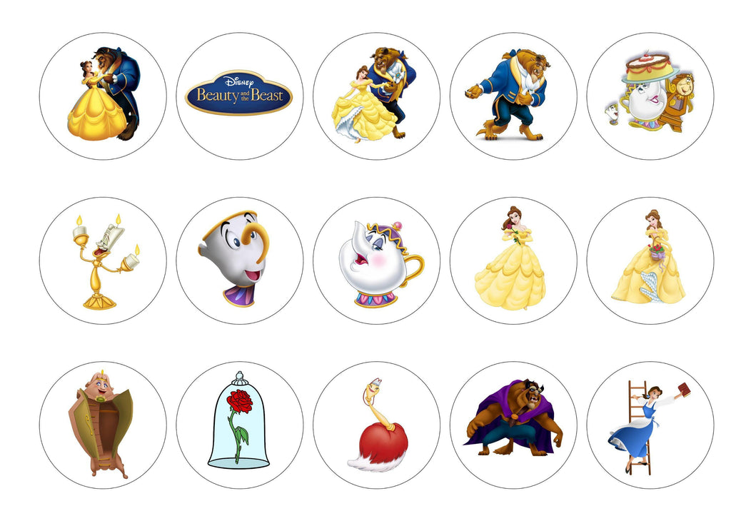 Printed edible cupcake toppers with images from Beauty and the Beast