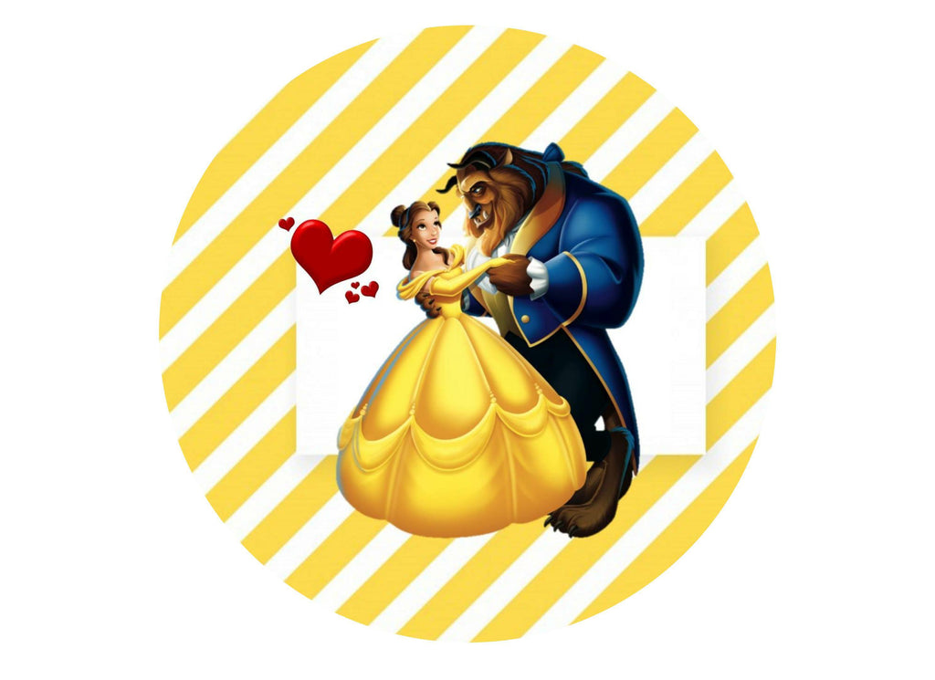 "7.5"" edible printed cake topper with Beauty and the Beast"