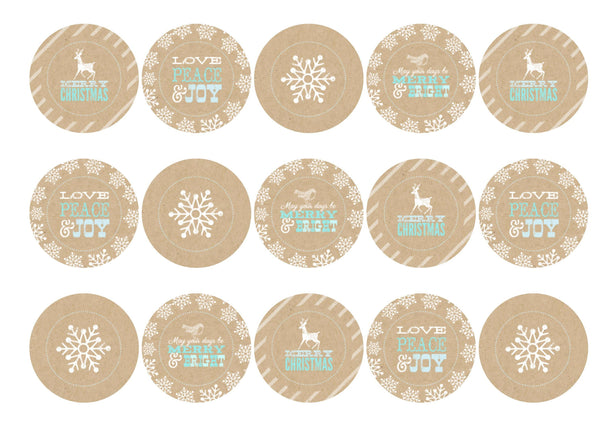 Printed cupcake toppers featuring Christmas designs in beige, white and blue