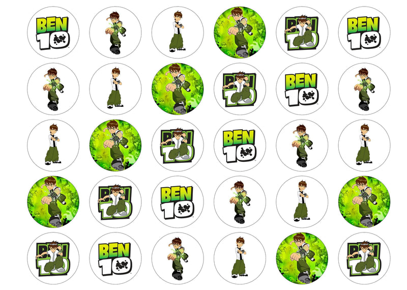 Printed edible cupcake toppers with Ben 10 images