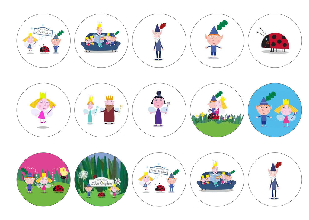 Printed edible cupcake toppers with images of Ben and Holly
