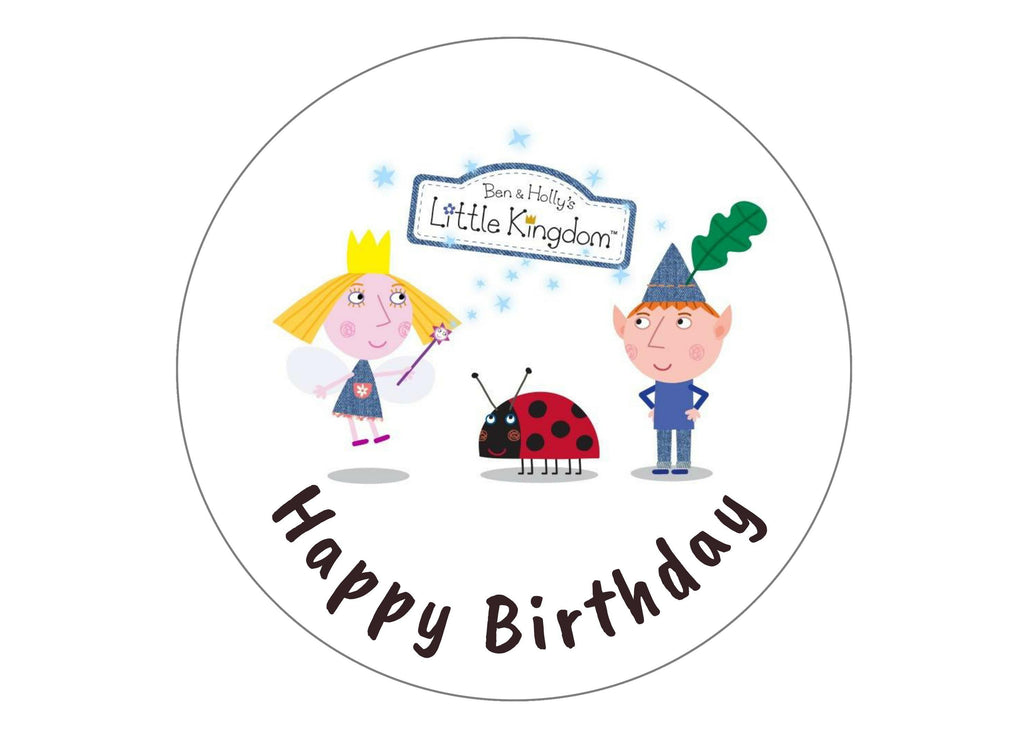 Printed edible birthday cake topper with Ben and Holly