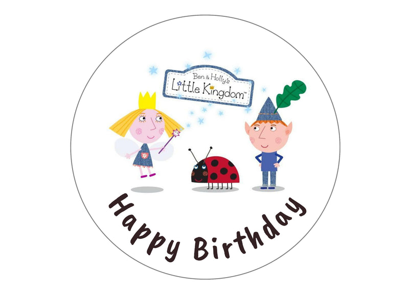 BEN AND HOLLY CARTOON CAKE TOPPER PERSONALISED ROUND EDIBLE CAKE DECORATION