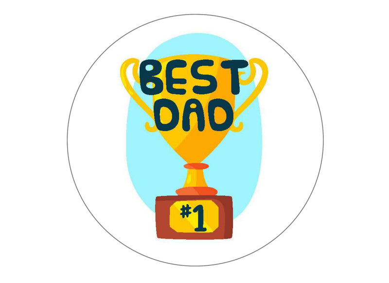 Large printed cake topper for the best dad on Father's Day