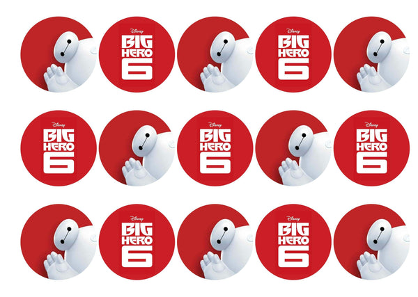 15 printed cupcake toppers with images from Big Hero six
