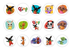 Printed cupcake toppers with images from the kids TV show Bing