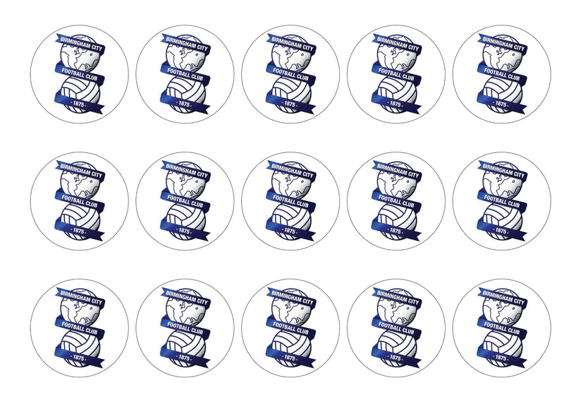 15 printed cupcake toppers with Birmingham City FC badge