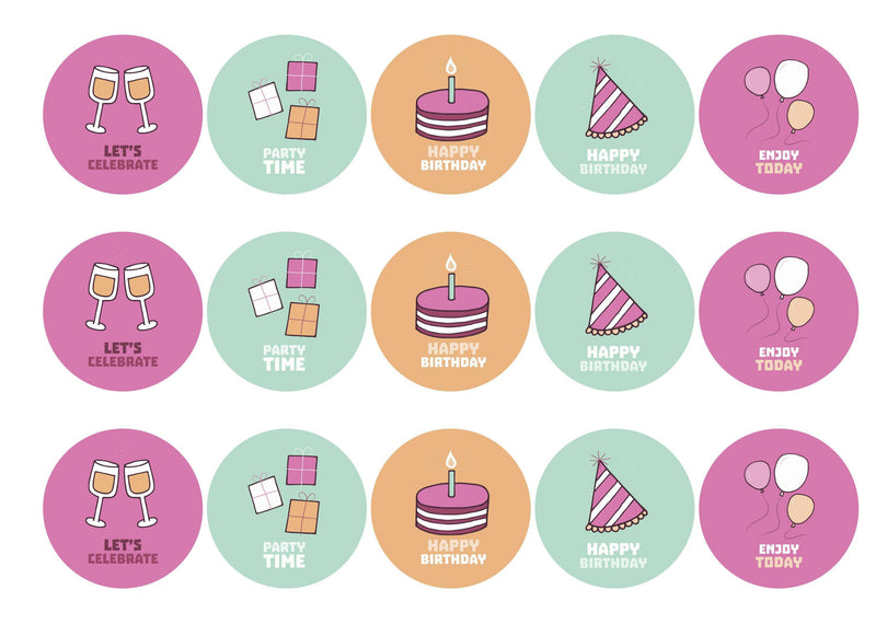 15 printed birthday cupcake toppers with party images