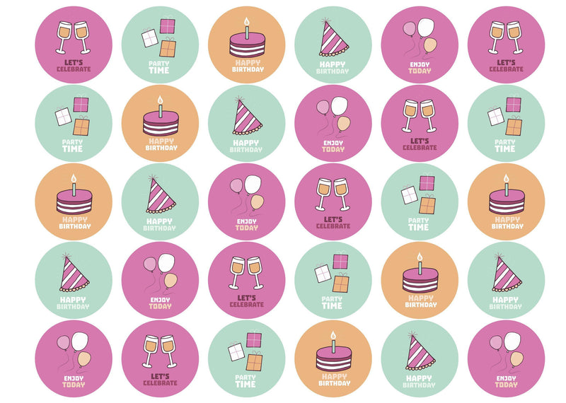 30 edible birthday cupcake toppers with party images