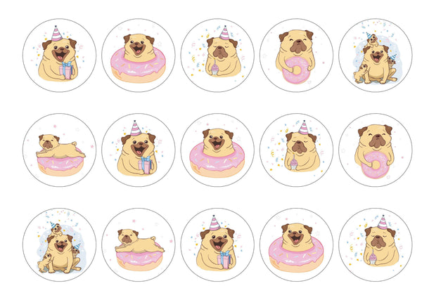 15 cupcake toppers with birthday pug designs