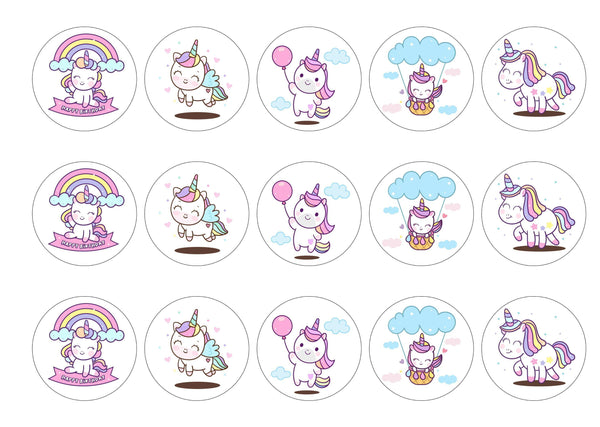 15 printed cupcake toppers with rainbow birthday unicorns