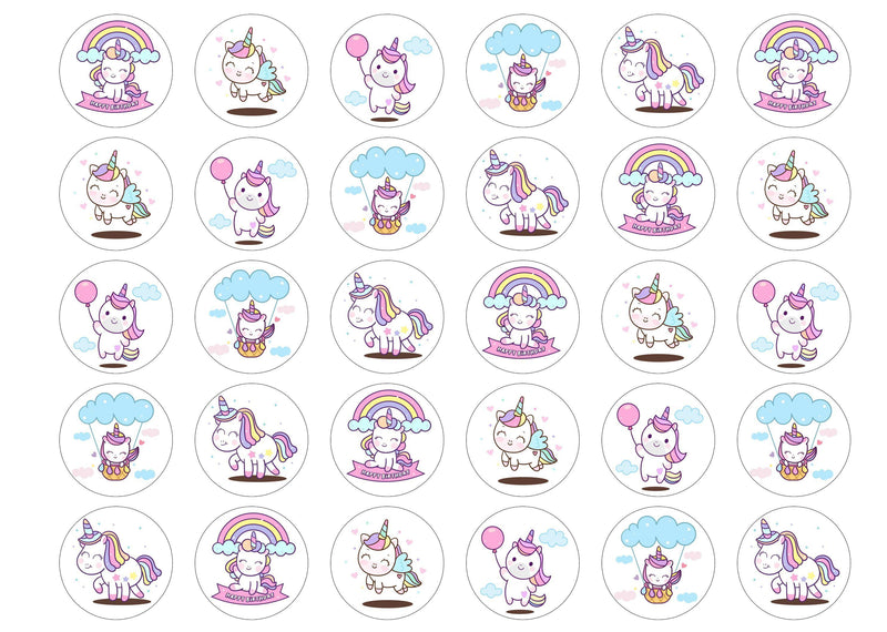 30 edible cupcake toppers with rainbow birthday unicorns
