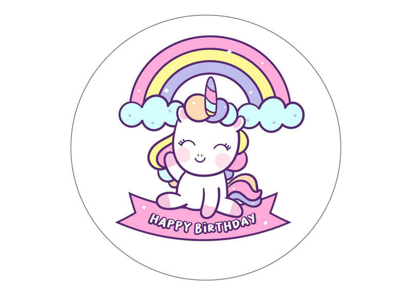 Large round cake topper with rainbow birthday unicorns