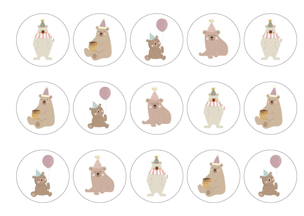 15 birthday bear cake toppers with edible prints