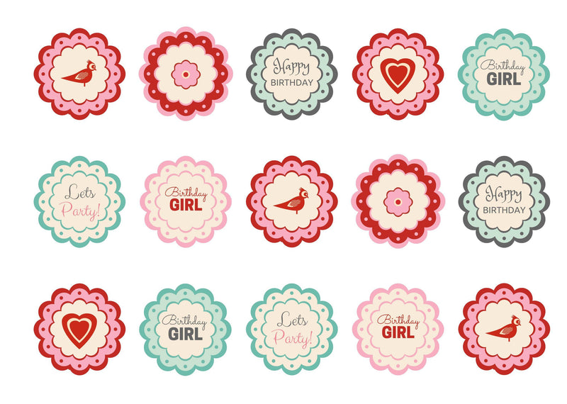 Printed cupcake toppers with a birthday girl message