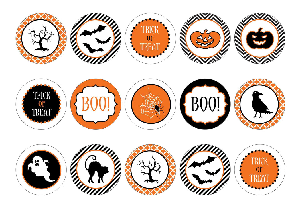 Printed cupcake toppers with black and orange Halloween images