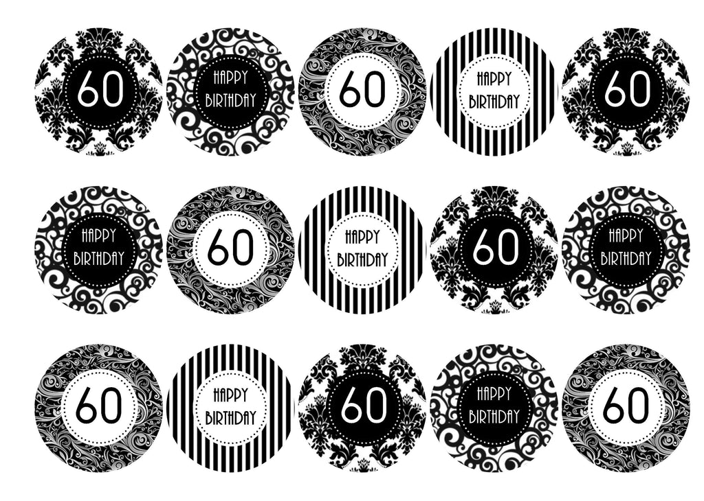 Black And White Birthday Printed Cupcake Toppers 38mm Edible