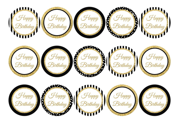 Black and gold printed cupcake toppers for a happy birthday