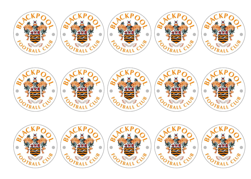 Printed cake toppers with the Blackpool Football Crest