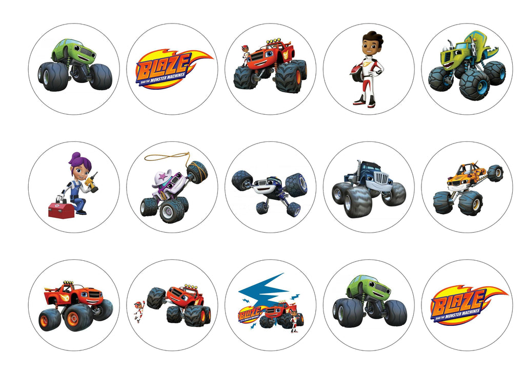 Printed edible cupcake toppers with Blaze and the Monster Machines