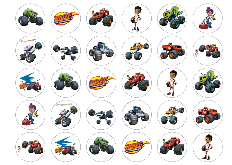 Edible cupcake toppers with images from the cartoon Blaze and the Monster Machines