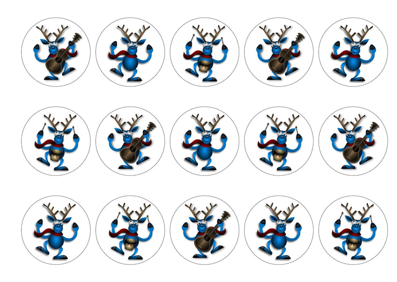 Printed cake toppers with blue musical reindeer images