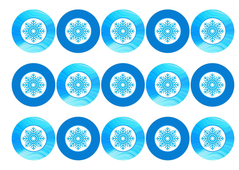 15 printed cupcake toppers with blue snowflakes