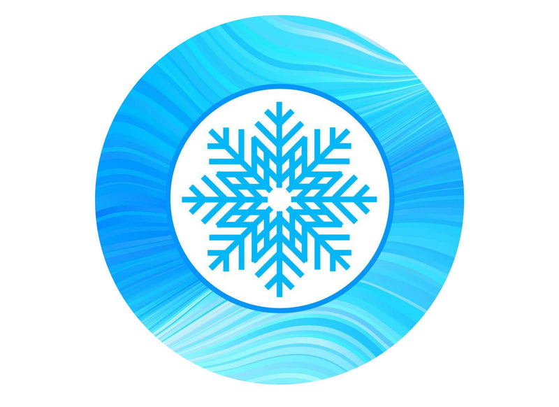 large cake topper with a blue snowflake image