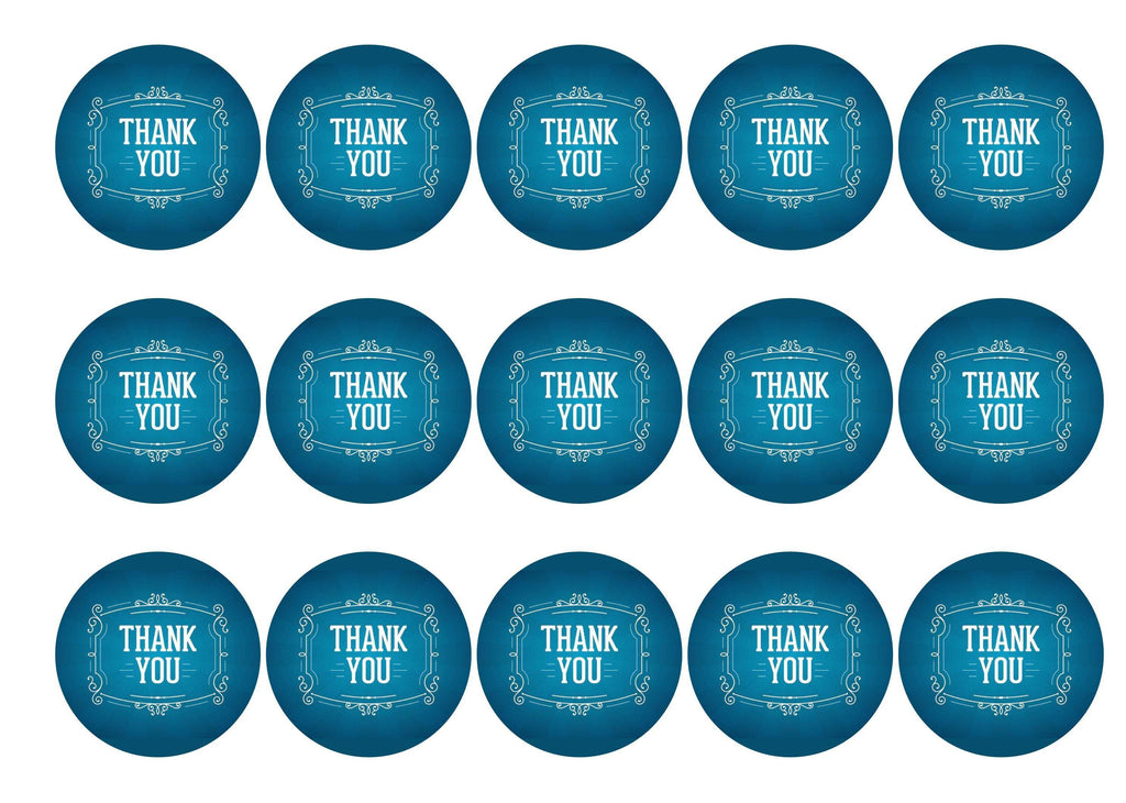 Printed edible cupcake toppers - thank you in blue