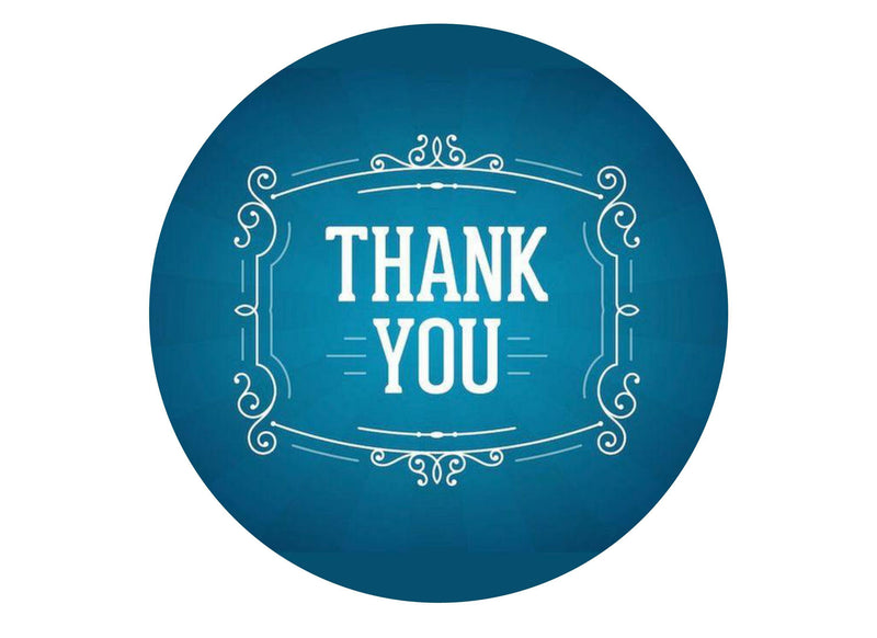 "Printed edible 7.5"" cake topper - thank you in blue"